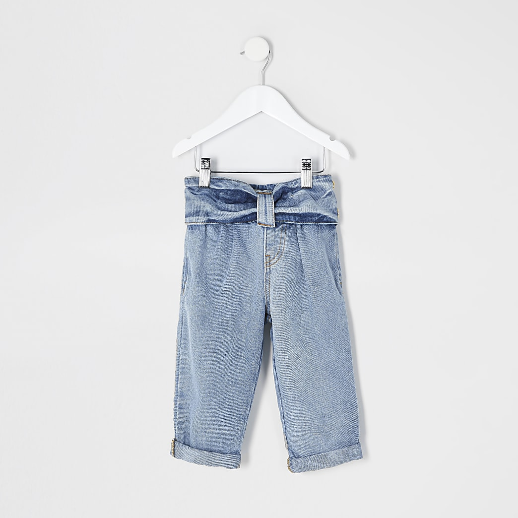 Mini girls blue bow waist Mom jeans