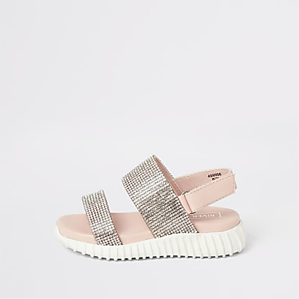 Mini girls pink diamante chunky sole sandals