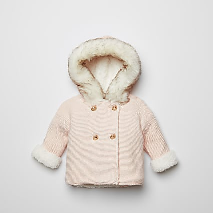 Baby pink faux fur hood knitted cardigan