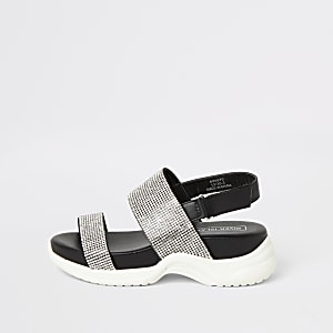Sandales noires avec strass et semelles épaisses pour fille