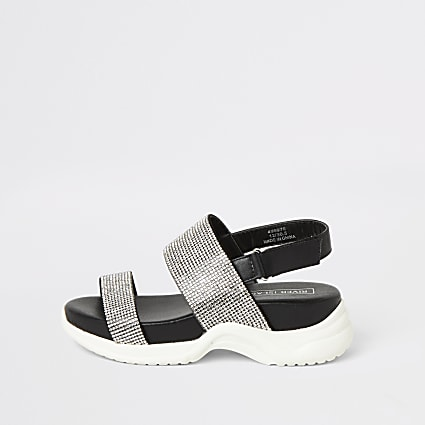 Girls black diamante chunky sandals