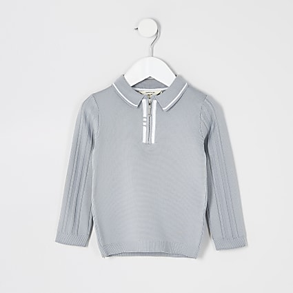 Mini boys grey half zip knitted polo shirt