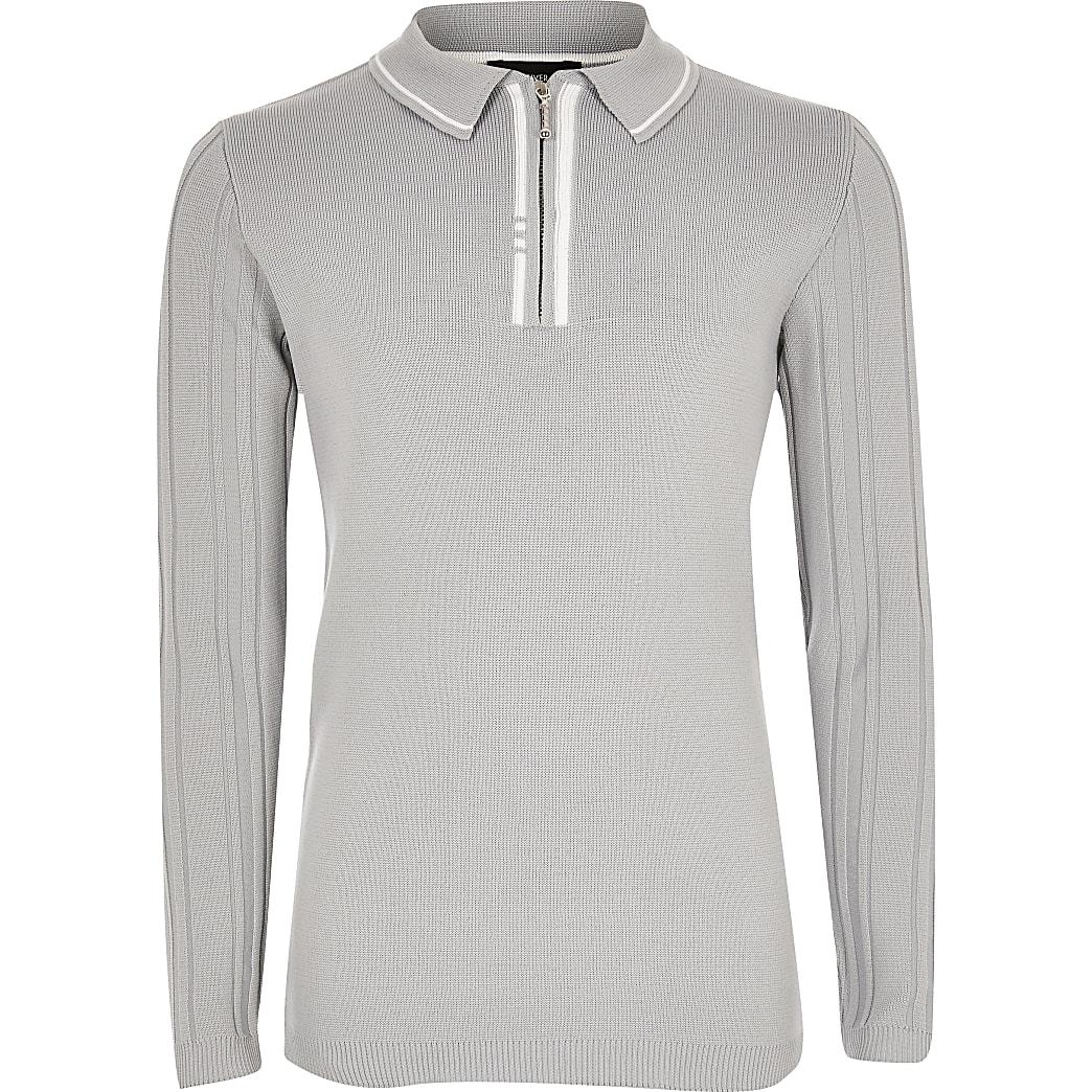 Boys grey ribbed half zip knitted polo shirt