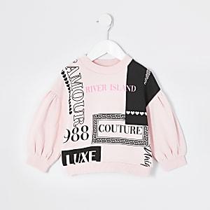 Mini - Roze sweater met RI couture-print voor meisjes