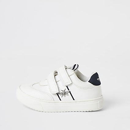 Mini boys white wasp velcro trainers