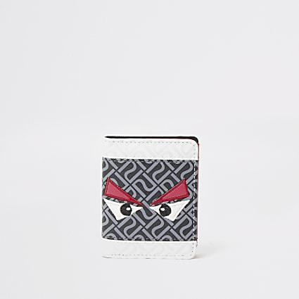 Boys grey RI monster velcro wallet