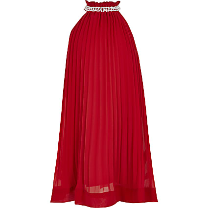 Girls red pleated diamante trapeze dress
