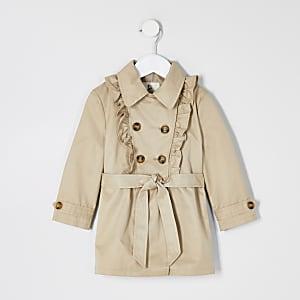Mini– Beigefarbener Rüschen-Trenchcoat für Mädchen