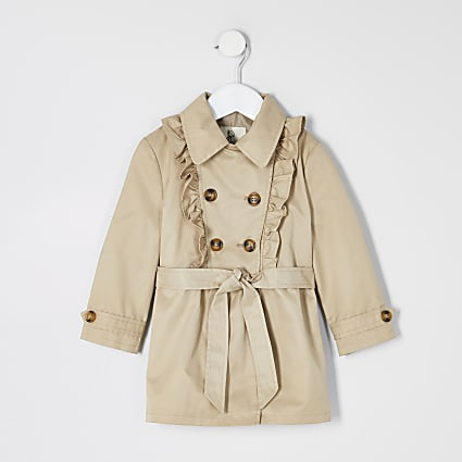 Mini girls beige frill trench coat