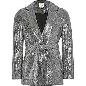 Zilverkleurige metallic blazer met strikceintuur voor meisjes