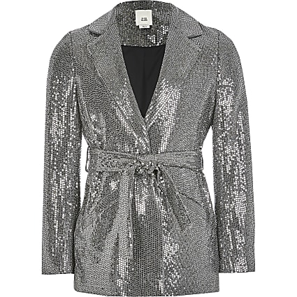 Girls silver metallic tie waisted blazer