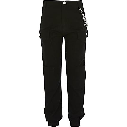 Girls black RI chain cargo trousers