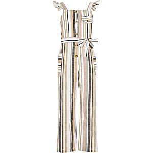 Girls white stripe tie belted jumpsuit