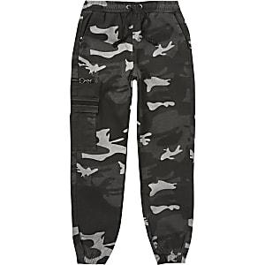 Pantalons de jogging utilitaires gris camouflage pour garçon