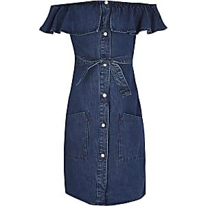 Blauwe denim jurk met knopen voor en bardot halslijn voor meisjes