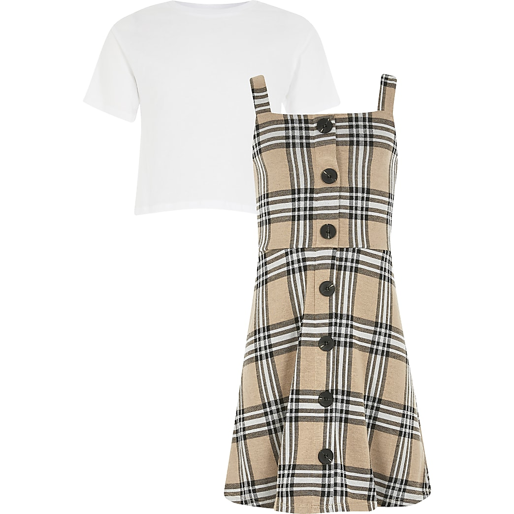 Girls beige check pinafore dress outfit