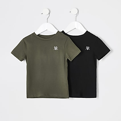 Mini boys khaki RVR T-shirt 2 pack