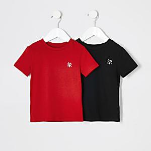 Mini - Zwart T-shirt voor jongens set van 2