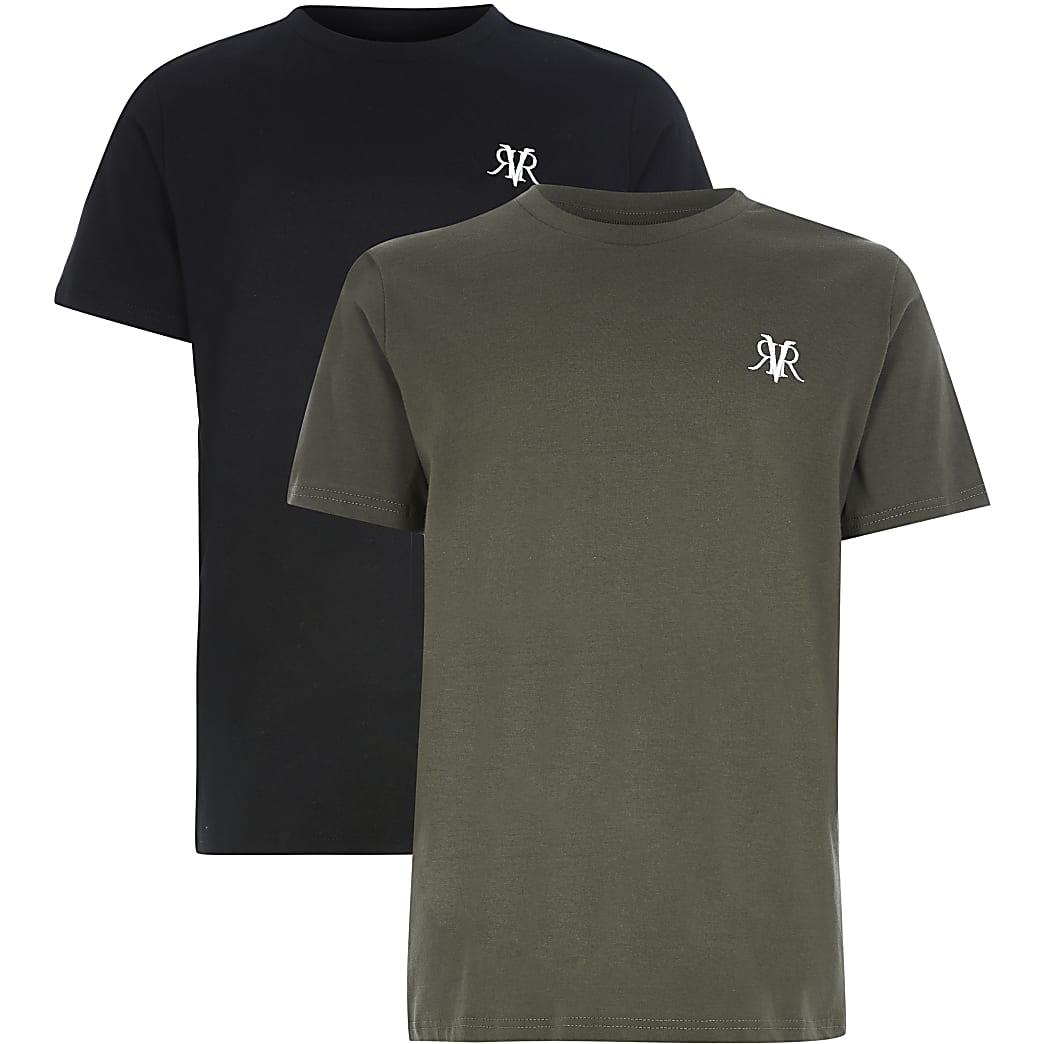 Set van 2 kaki T-shirts met RVR-print en korte mouwen voor jongens