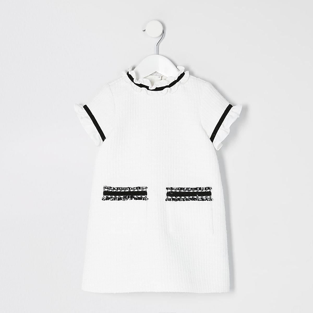 Mini girls white frill shift dress