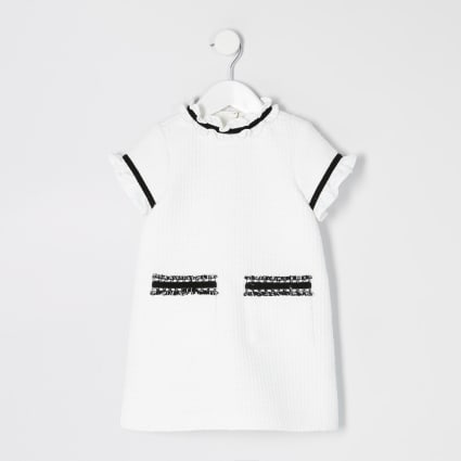 Mini girls white frill shift dress