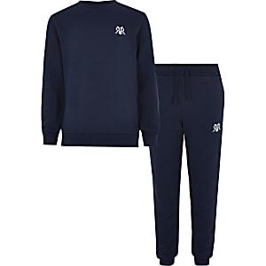 Marineblauwe sweater outfit met RVR-print voor jongens