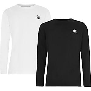 Schwarzes, langärmeliges RVR-T-Shirt für Jungen im 2er-Pack