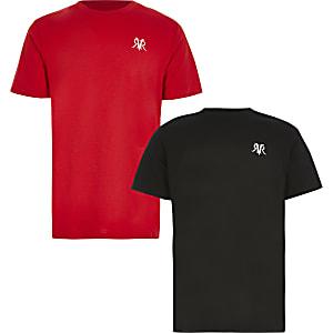 Set van 2 zwarte en rode T-shirts met korte mouwen en RVR-tekst voor jongens