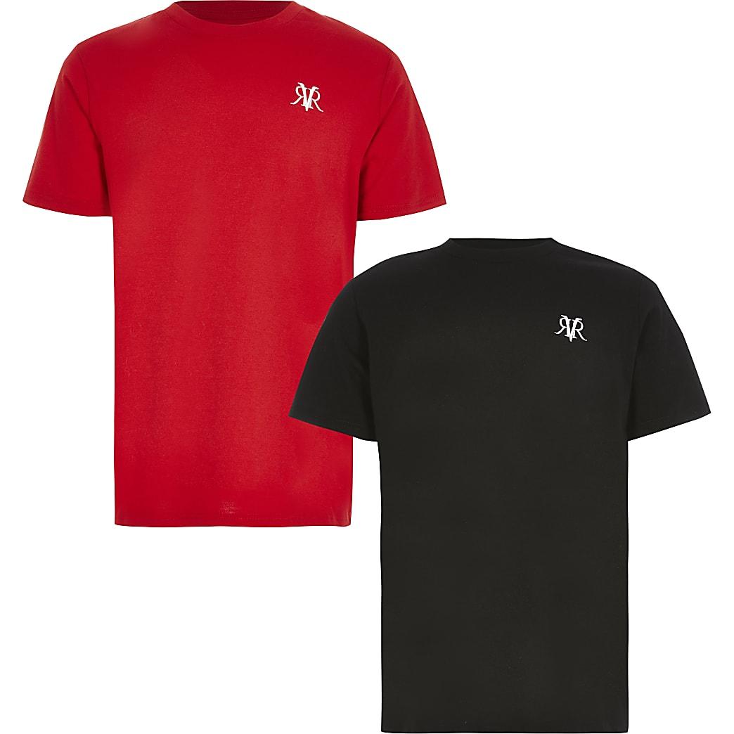 Boys black RVR short sleeve T-shirt 2 pack