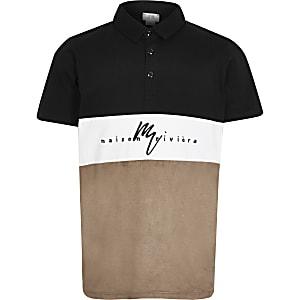 Schwarzes Poloshirt mit Colur-Block aus Wildlederimitat für Jungen