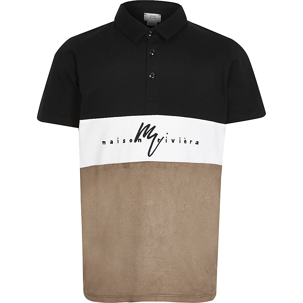 Boys black suedette blocked polo shirt