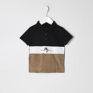 Mini - Zwart suèdine poloshirt met kleurvlakken voor jongens