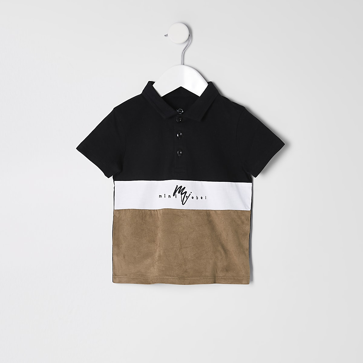 Mini boys black suedette blocked polo shirt