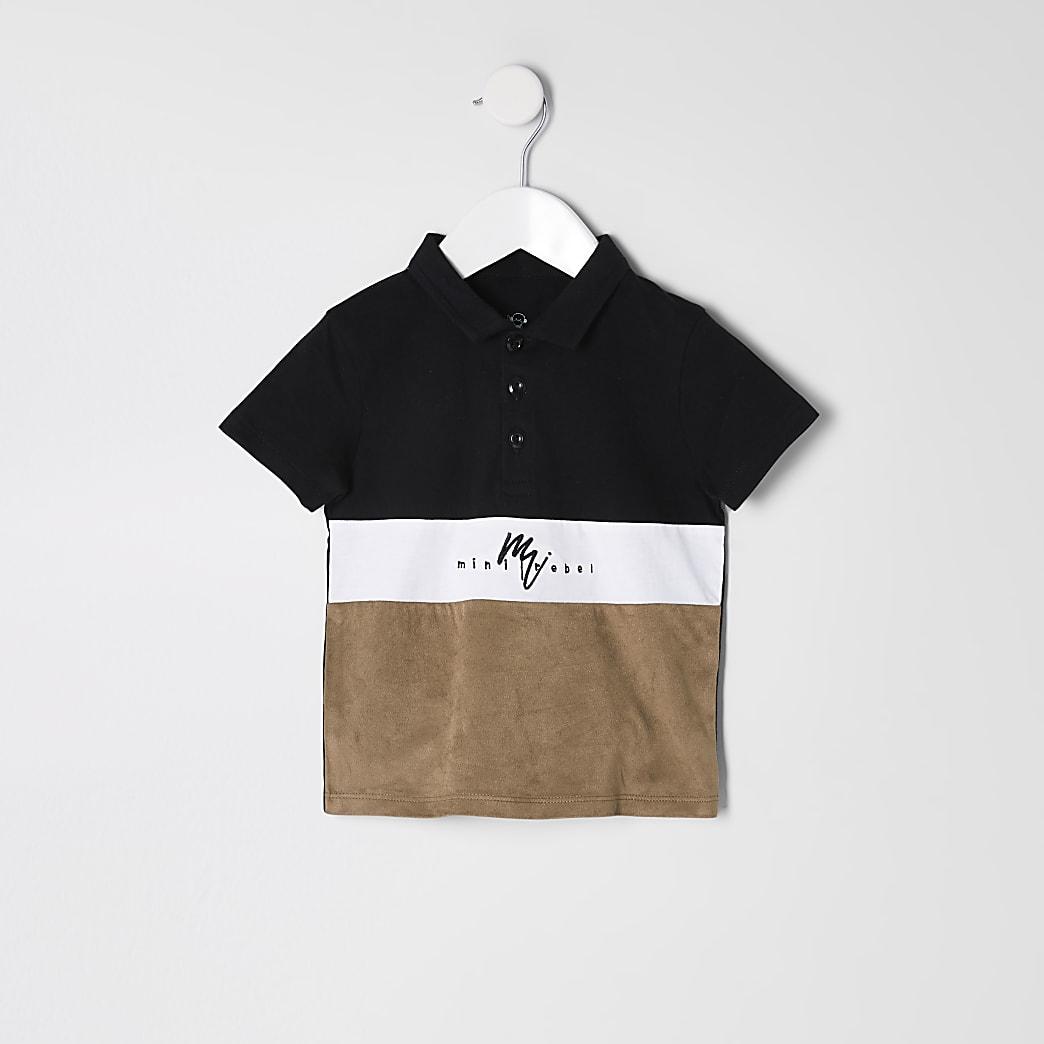 Mini boys black suedette blocked polo shirt