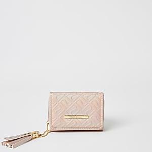 Roze portemonnee met RI-print in reliëf voor meisjes