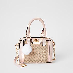 Hellbraune RI-Bowler-Tasche im Jacquard-Muster für Mädchen