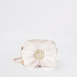 Girls pink metallic RI bow cross body bag