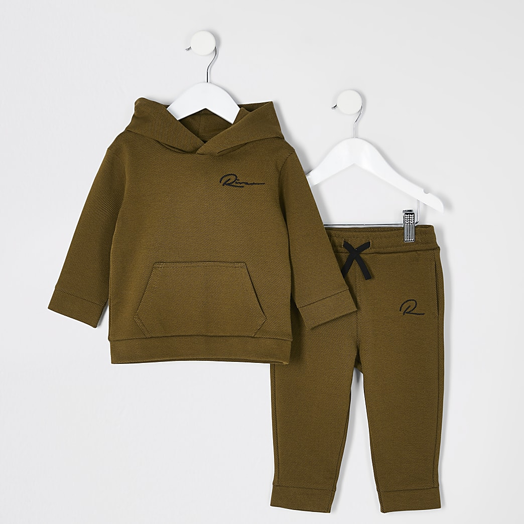 Mini boys brown 'Riveria' twill hoodie outfit