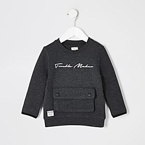 Mini - Prolific - Grijze doorgestikte sweater voor jongens