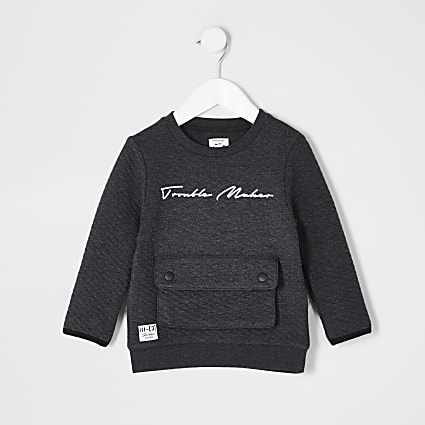 Mini boys grey Prolific quilted sweatshirt