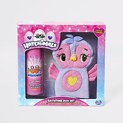 Girls Hatchimals bath and wash mitt set