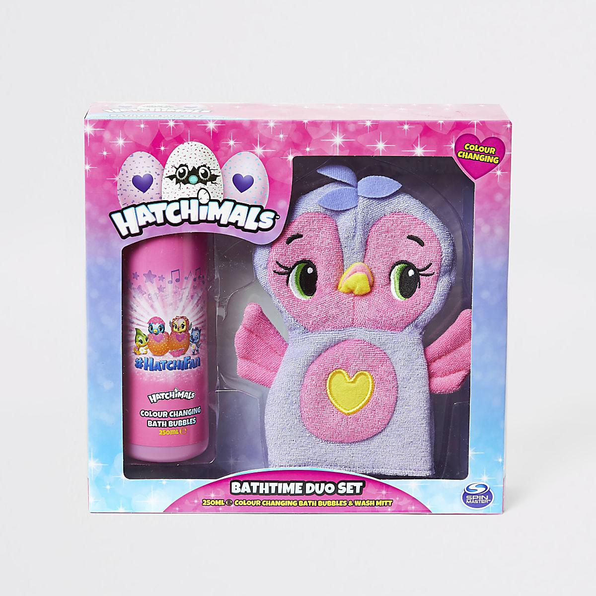 Girls Hatchimals bath and wash mitt set