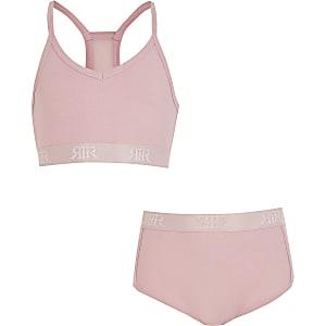 Roze loungekleding set met crop top en boxers voor meisjes