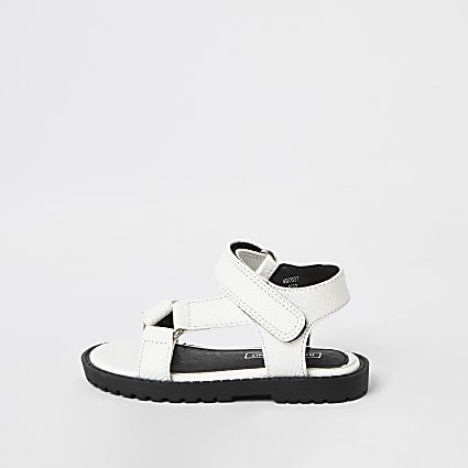 Mini girls white strappy velcro sandals