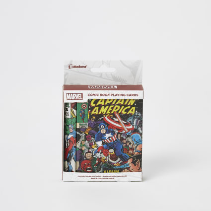 Boys Marvel playing cards and tin