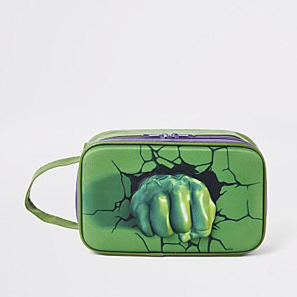 Boys green Hulk square wash bag set