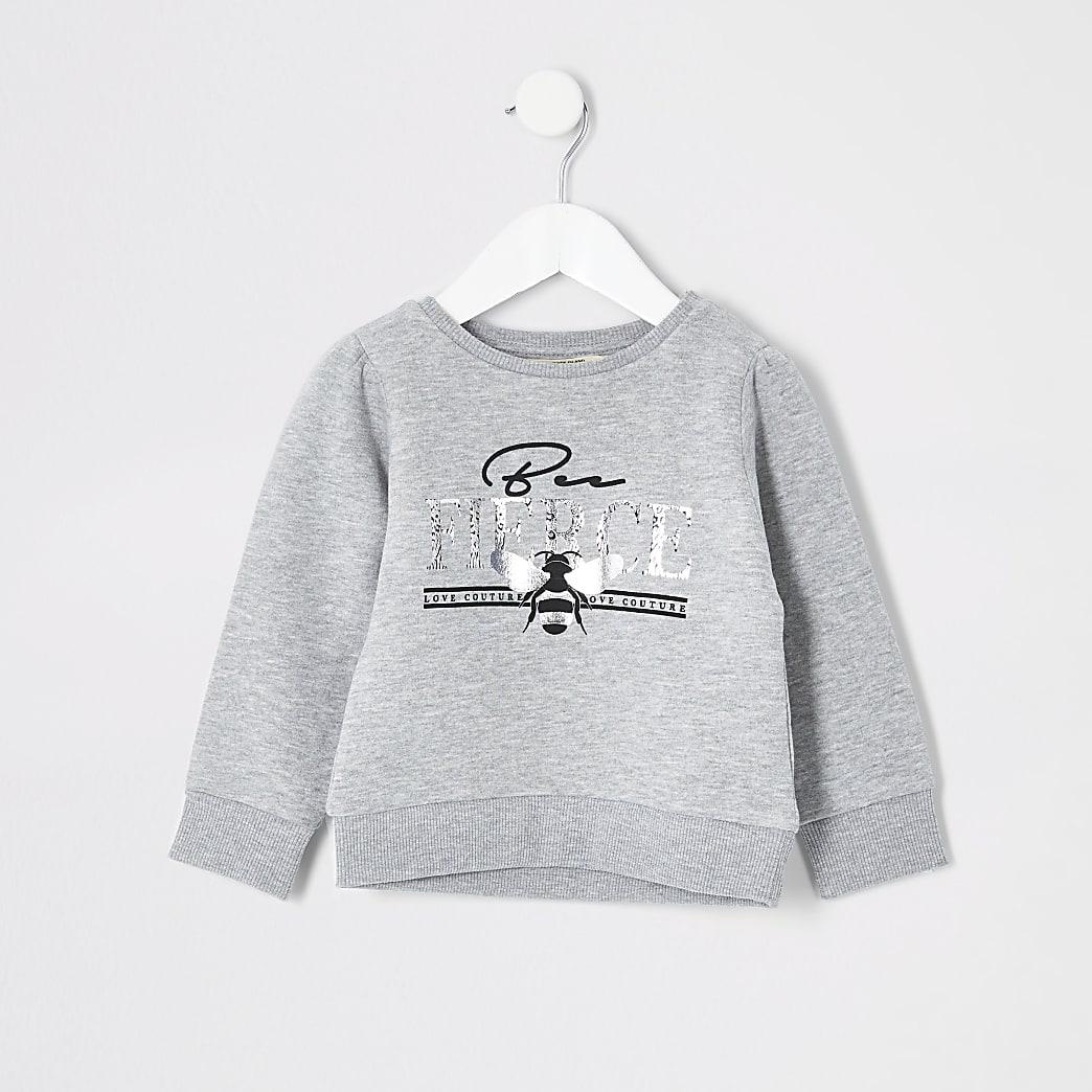 Mini girls grey 'Bee fierce' sweatshirt