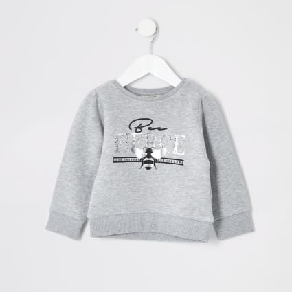 Mini girls grey 'Bee fierce' sweatshirt