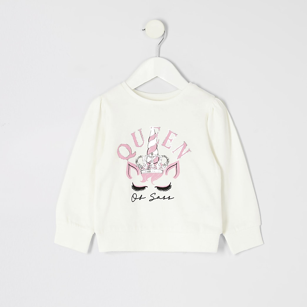 Mini girls white unicorn print sweatshirt
