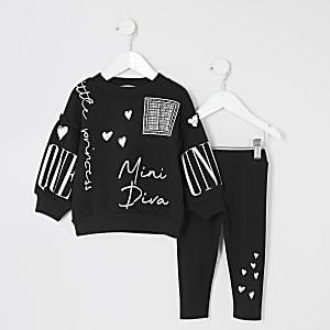 Mini - Outfit met zwart sweatshirt met 'mini diva'-tekst voor meisjes